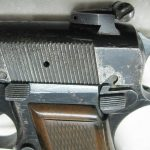 A closeup of our FN Browning Hi Powered Standard's hammer